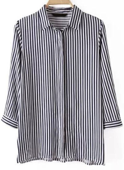 Navy White Lapel Vertical Stripe Blouse