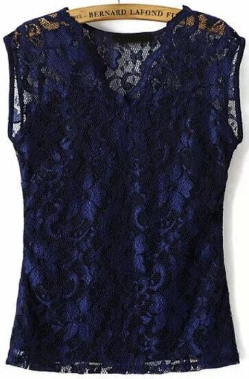 Navy V Neck Hollow Lace Blouse