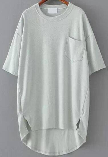 Grey Pocket Split Dip Hem T-Shirt