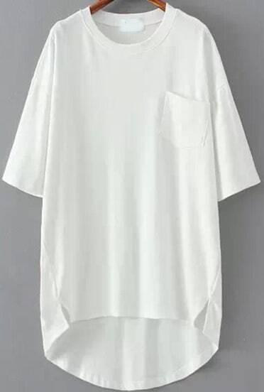 White Pocket Split Dip Hem T-Shirt