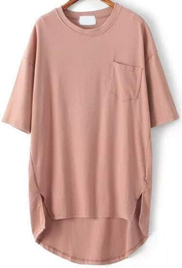 Pink Pocket Split Dip Hem T-Shirt