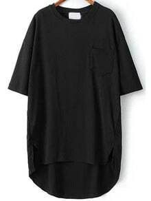 Black Pocket Split Dip Hem T-Shirt