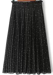 Black Elastic Waist Polka Dot Pleated Skirt