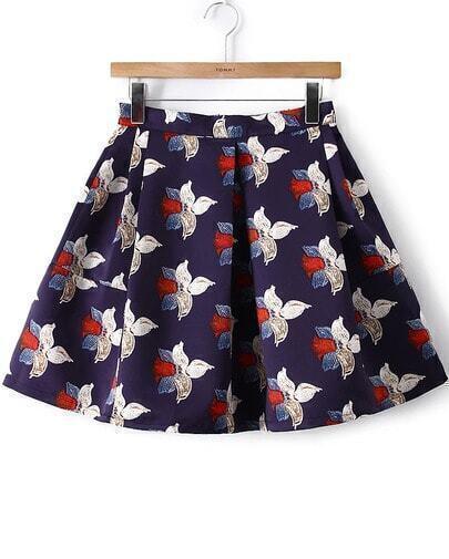Blue Floral Flare Skirt