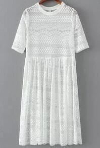 White Short Sleeve Lace Pleated Dress