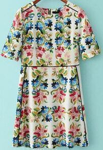 Multicolor Short Sleeve Zipper Floral Dress