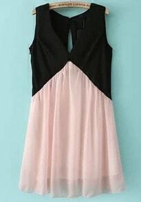 Colour-block Foam V Neck Sleeveless Dress
