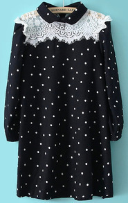Black Long Sleeve Polka Dot Lace Dress
