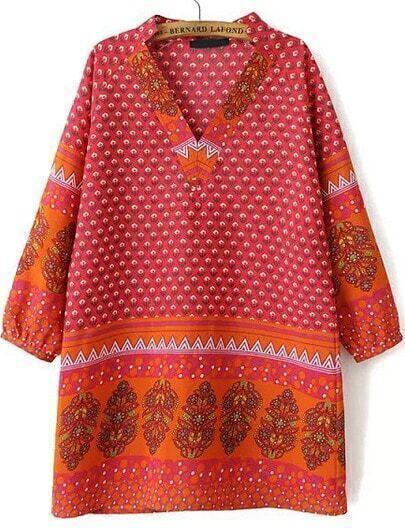 Red V Neck Long Sleeve Floral Dress