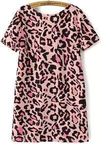 Pink Short Sleeve Backless Leopard Dress