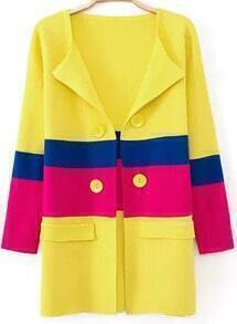 Yellow Long Sleeve Double Breasted Pockets Coat
