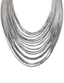 Silver Multilayer Chain Necklace
