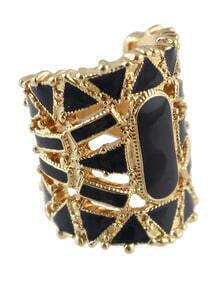 Black Hollow Out Bangle Ring