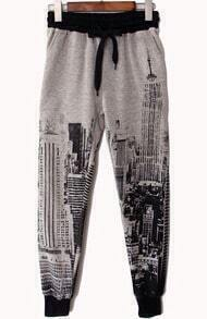 Grey City Tower Print Loose Pant