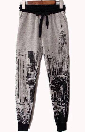 Grey City Tower Print Loose Pant
