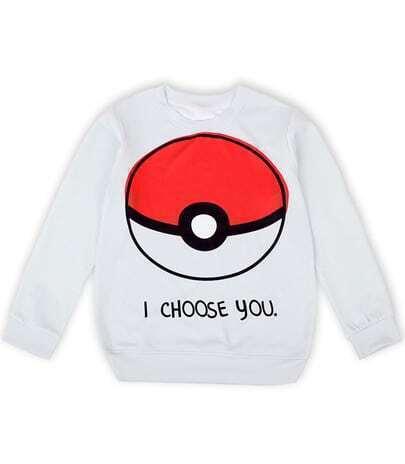 White Poké Ball Print Loose Sweatshirt