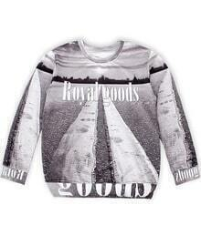 Grey Royal goods Print Loose Sweatshirt
