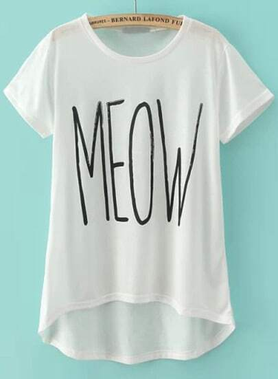 White Short Sleeve MEOW Print T-Shirt