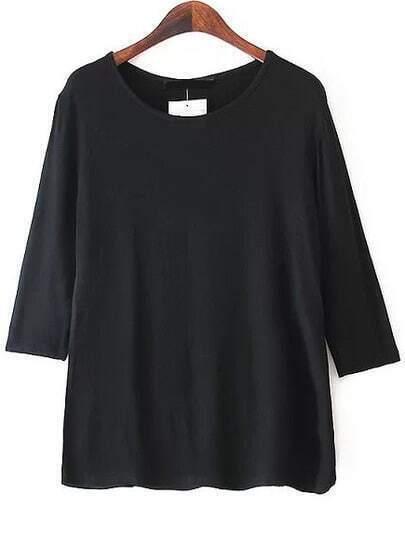 Black Boat Neck Half Sleeve Slim T-Shirt