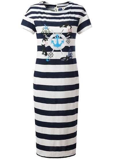Navy Short Sleeve Striped Dolphin Print Dress