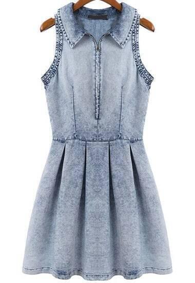 Blue Cowgirls Lapel Sleeveless Pleated Denim Dress