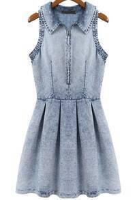 Blue Lapel Sleeveless Pleated Denim Dress