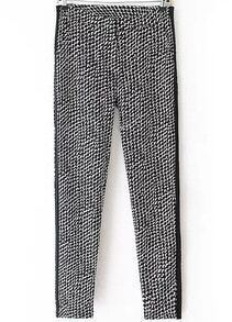 Black Pockets Geometric Print Pant