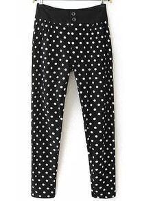 Black Buttons Polka Dot Pant