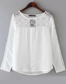 White Long Sleeve Hollow Loose Blouse