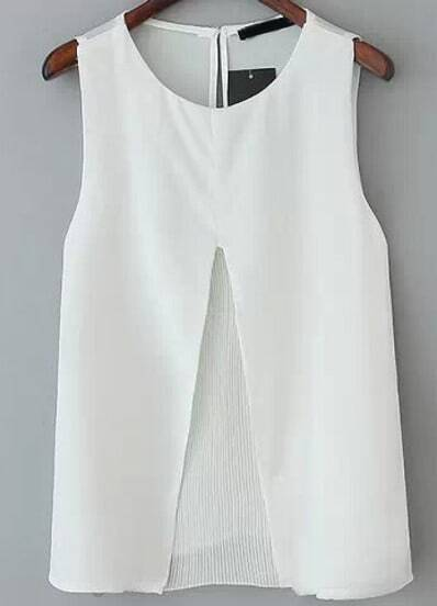 White Sleeveless Split Pleated Blouse