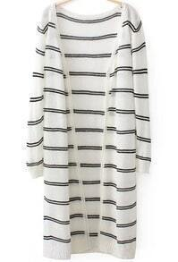 White Long Sleeve Striped Knit Cardigan
