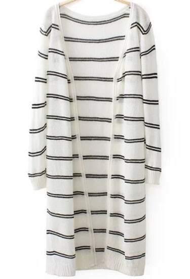 White Long Sleeve Striped Knit Cardigan