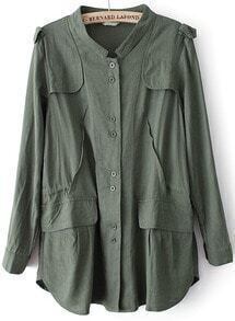 Green Long Sleeve Pockets Trench Coat