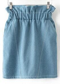 Blue Elastic Waist Pockets Denim Skirt