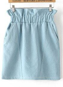 Light Blue Elastic Waist Pockets Denim Skirt