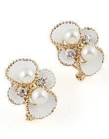 White Pearl Gold Stud Earrings