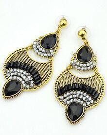 Black Drop Gemstone Gold Earrings