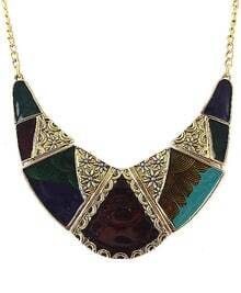 Multicolor Glaze Gold Collar Necklace