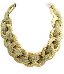 Gold Circular Plait Chain Necklace