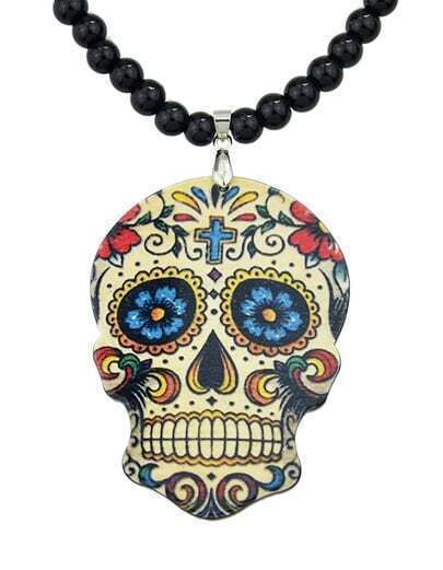Black Skull Bead Chain Necklace pictures