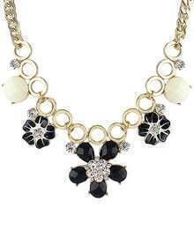 Black Flower Round Gold Necklace