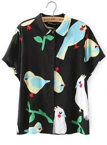 Black Lapel Bird Print Short Sleeve Blouse
