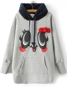 Grey Hooded Long Sleeve Eye Bow Sweatshirt
