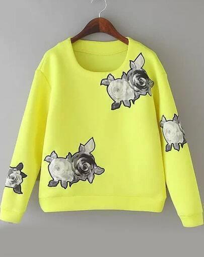 Neon Yellow Long Sleeve Floral Crop Sweatshirt