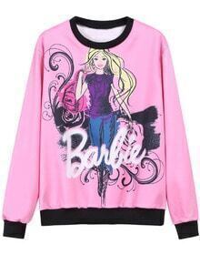 Pink Round Neck Barbie Print Sweatshirt