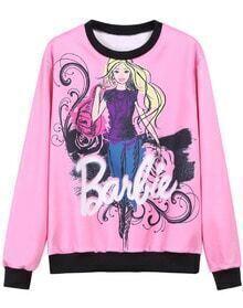 Pink Round Neck Barbie Print Sweatshirt