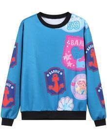 Blue Round Neck Anchors Print Sweatshirt