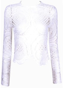 White Long Sleeve Hollow With Zipper Lace Blouse