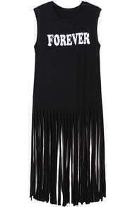 Black Sleeveless FOREVER Print Tassel Dress