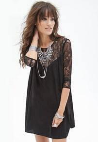 Black Contrast Lace Straight Dress